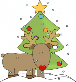 Reindeer and Christmas Tree Clip Art - Reindeer and ...