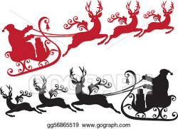 EPS Illustration - Santa with sleigh and reindeer. Vector ...