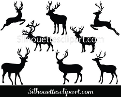 Christmas Deer Silhouette Vector Download Reindeer Vector ...