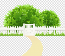 Clipping path , Path with Fence and Trees , green leafed ...