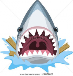 Shark attack with open jaws full of teeth and angry ...