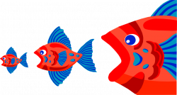 Fish | Free Stock Photo | Illustration of three red fish eating each ...