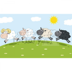 Royalty Free RF Clipart Illustration Smiling Ram Sheep Leading Three Sheeps  clipart. Royalty-free clipart # 395447