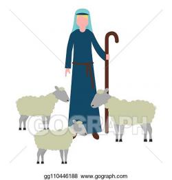 Vector Illustration - Shepherd with flock sheep character ...