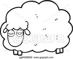EPS Vector - Black and white cartoon muddy winter sheep ...