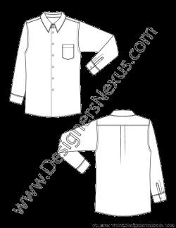 Classic Mens Dress Shirt V1 Fashion Technical Drawing - Designers Nexus