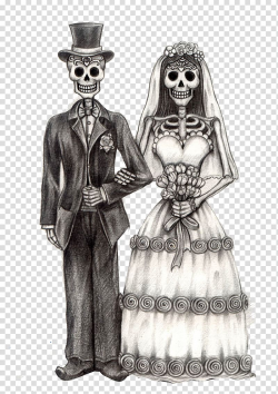 Groom and bride skeleton illustration, Calavera Day of the ...