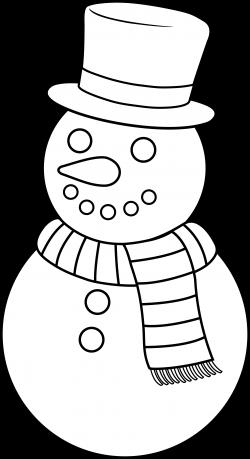Colorable Christmas Snowman - Free Clip Art