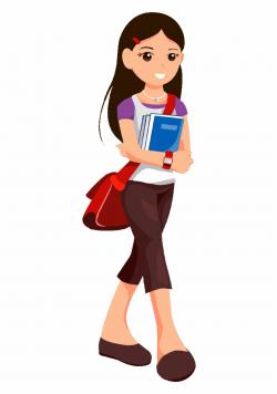 Student Clipart Highschool - Teen Girl Cartoon Png ...