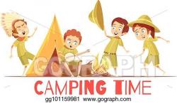 Vector Illustration - Scouts camping retro cartoon poster ...