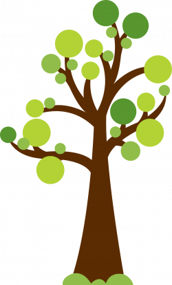 Tree with circles for leaves. Cute image for summer or garden theme ...