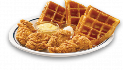 Four chicken tenders and four waffle quarters with whipped butter ...