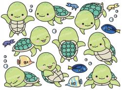 Premium Vector Clipart - Kawaii Turtle - Cute Turtle Clipart ...