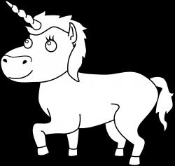 Colorable Unicorn Line Art - Free Clip Art