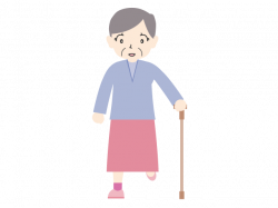 An old lady who takes a walk | Family illustration | Free material ...
