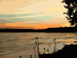 Clipart - Missouri river sunset