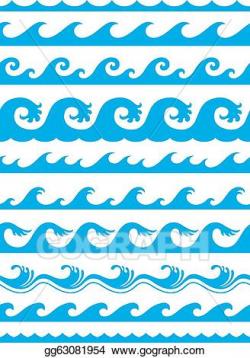 Vector Art - Seamless ocean wave set . Clipart Drawing ...