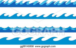 EPS Vector - Hand drawn ocean waves endless borders set ...