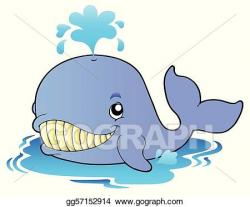EPS Illustration - Big cartoon whale. Vector Clipart ...