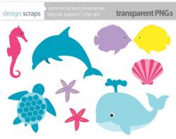 sea life clip art graphics, whale dolphin fish sea turtle ...
