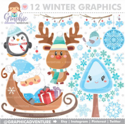 Winter Clipart, Winter Graphics, COMMERCIAL USE, Kawaii Clipart, Winter  Party, Planner Accessories, Winter Bear, Christmas Clipart