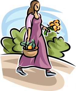 Gardener with Basket of Fruit and Vegetables - Vector Image