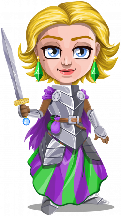 Clipart - Woman knight warrior in armor, holding a sword - 2 - blonde