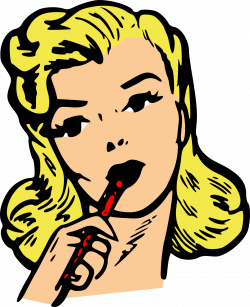Clipart - Woman thinking, writing