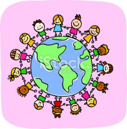 different people holding hands around the world. Clipart ...
