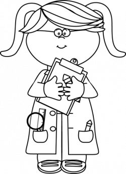 Black and White Girl Scientist with a Clipboard Clip Art ...