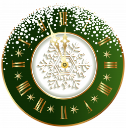 Green New Year Clock PNG Clipart Image | Christmas 2 | Pinterest ...