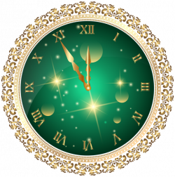 Green New Year's Clock PNG Transparent Clip Art Image | Christmas 2 ...