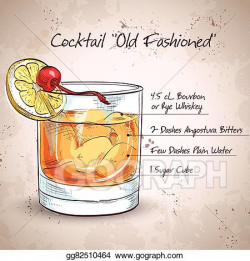 Vector Stock - Old fashioned cocktail. Clipart Illustration ...