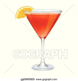 Vector Art - Martini glass with orange cocktail . Clipart ...