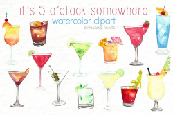 Watercolor Clip Art - Beverages