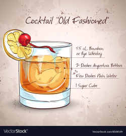 Old fashioned cocktail Royalty Free Vector Image | Typo in ...