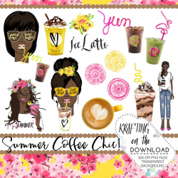 watercolor coffee clipart png file watercolor ice coffee clip art set  watercolor coffee african american planner girl png summer clipart