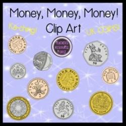 British UK coins clip art: 1p, 2p, 5p, 10p, 20p, 50p, £1, £2 ...