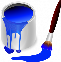 Blue Paint Brush And Can Clip Art at Clker.com - vector clip art ...