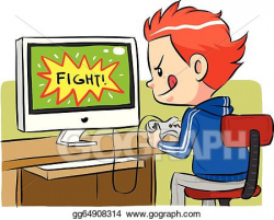 Vector Art - Playing computer games. Clipart Drawing ...