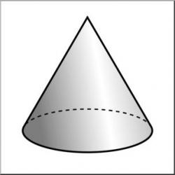 Clip Art: 3D Solids: Cone Grayscale I abcteach.com | abcteach
