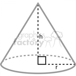 geometry cone math radius height clip art graphics images clipart.  Royalty-free clipart # 392531