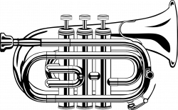 Trumpet Black and white Clip art - Silver trumpet 1920*1186 ...