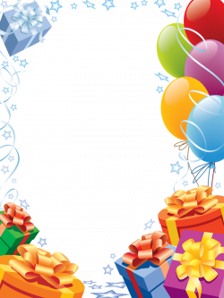 Happy Birthday Transparent Frame with Gifts and Balloons | Gallery ...