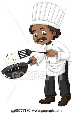 Vector Illustration - Chef cooking with frying pan and ...