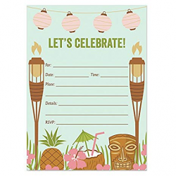 25 Luau Tiki Invitations with Envelopes (Pack of 25) Fill In Summer Party  Invites, BBQ, Cookout, Rehearsal Dinner, Baby Shower, Graduation, Birthday  ...