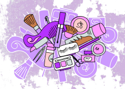 Cosmetics Cosmetology Illustration - Lovely Makeup Tools Collection ...