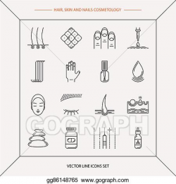 Vector Art - Set of cosmetology icons. Clipart Drawing ...