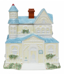 Large Ceramic House Canister Cookie Jar | Chairish