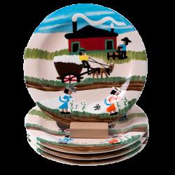 Cotton Mural Dinner Plates (Set of 4) - Dinnerware